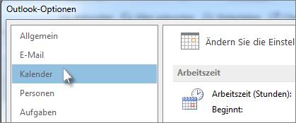 In Outlook-Optionen auf 'Kalender' klicken