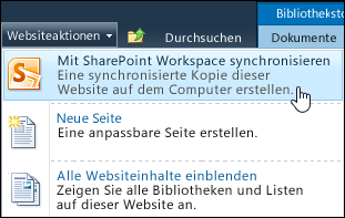 Option 'Mit SharePoint Workspace synchronisieren' im Menü 'Websiteaktionen'