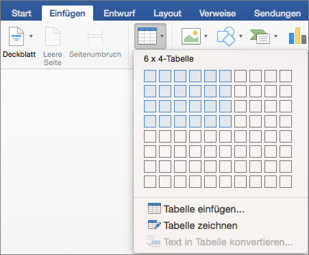 Auswählen der Anzahl von Zeilen und Spalten zum schnellen Einfügen einer Tabelle