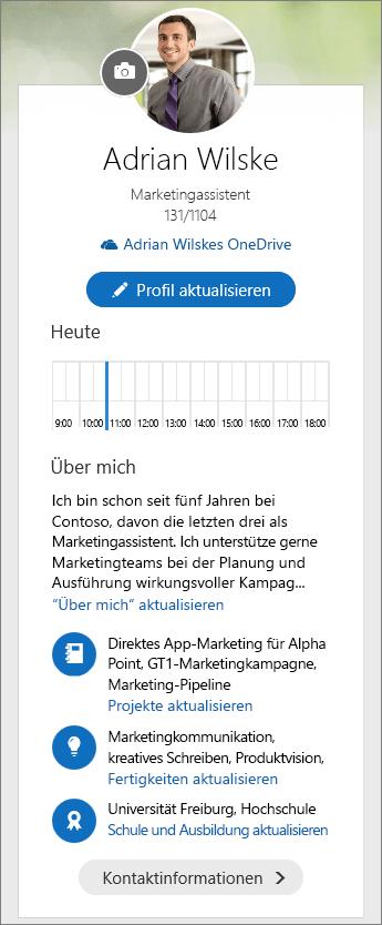 """Screenshot der Standardinhalte des Bereichs """"Über mich"""" in der Delve-Übersicht"""