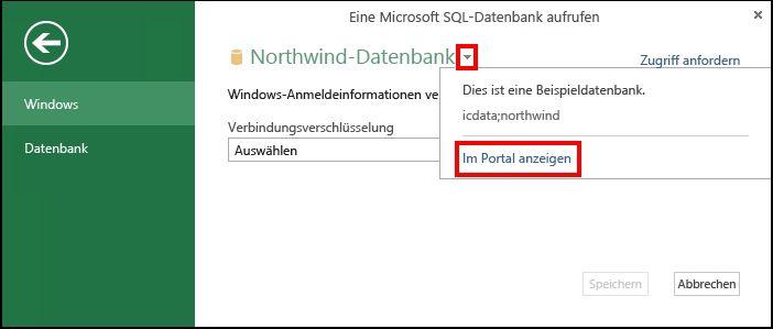 Anzeigen von Datenquelleninformationen im Portal