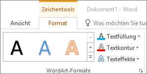 """Gruppe """"WordArt-Formatvorlagen"""""""
