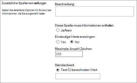 Auswahlmöglichkeiten für eine einzelne Textzeile