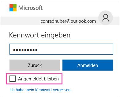 """Screenshot des Kontrollkästchens """"Angemeldet bleiben"""" auf der Outlook.com-Anmeldeseite"""