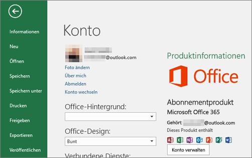 """Das mit Office verknüpfte Microsoft-Konto wird im Fenster """"Konto"""" einer Office-Anwendung angezeigt."""
