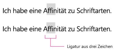Beispiel für Ligatur