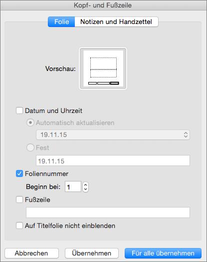 """Zeigt das Dialogfeld """"Kopf- und Fußzeilen"""" in PowerPoint 2016 für Mac"""