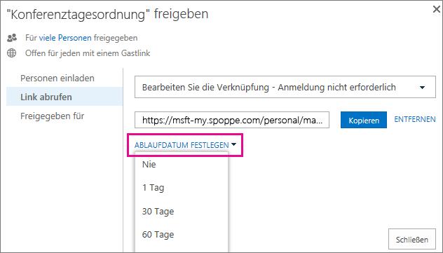 Screenshot: Festlegen eines Ablaufdatums für einen Gastlink