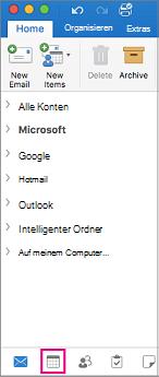 """Auswählen der Schaltfläche """"Kalender"""" am unteren Rand der Ordnerliste in Outlook"""