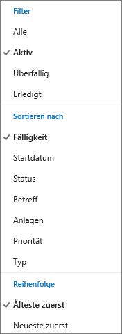 Wählen Sie in der Outlook.com-Aufgabenliste aus, wie Aufgaben gefiltert, sortiert und angeordnet werden sollen.