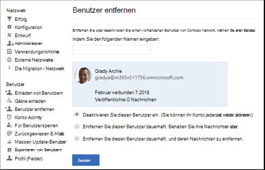 Screenshot der Vorgehensweise zum Deaktivieren eines Benutzers in Yammer