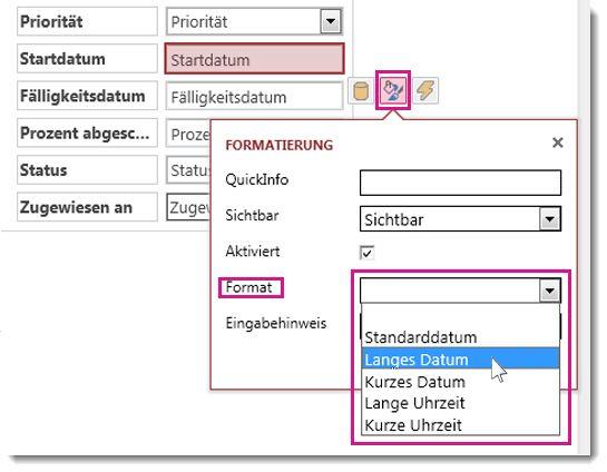 Abbildung des Formatierungsmenüs in einer Access-App
