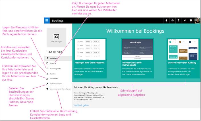 Startseite des Bildschirms für Buchungen, Platz für Logo und linker Navigation hervorgehoben