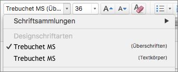 """Der Screenshot zeigt die Designschriftarten-Optionen für Überschriften und Textkörper, die über das Dropdownfeld """"Schriftart"""" in der Gruppe """"Schriftart"""" auf der Registerkarte """"Start"""" zur Verfügung stehen."""