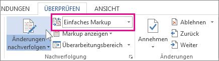 """Ausschnitt aus """"Überprüfen"""": Benutzeroberfläche """"Einfaches Markup"""""""