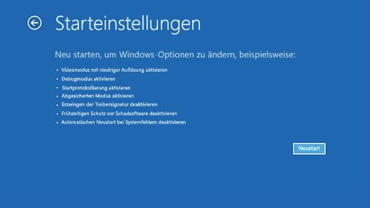 """Der Bildschirm """"Windows-Starteinstellungen"""" in der Windows-Wiederherstellungsumgebung."""