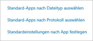 Wählen Sie Standardoptionen nach Dateityp, Protokoll oder App aus.