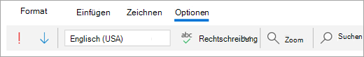 "Screenshot der Registerkarte ""Optionen"""