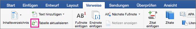 """Klicken Sie auf der Registerkarte """"Verweise"""" auf """"Tabelle aktualisieren"""", um das Inhaltsverzeichnis eines Dokuments zu aktualisieren."""