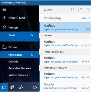 Hauptbildschirm in Mail für Windows 10