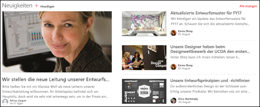 Teamwebsite, Schlagzeilen-Webpart