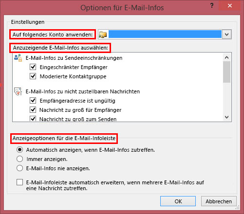 E-Mail-Info-Optionen in Outlook