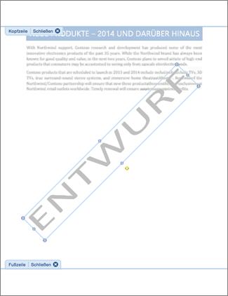"""Grafik eines Dokuments mit Wasserzeichen vom Typ """"Entwurf"""""""