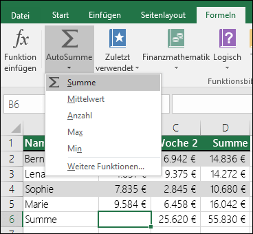 SUMME (Funktion) - Office-Support