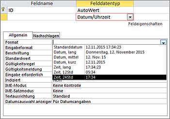 Die Eigenschaft 'Format' eines Datums-/Uhrzeitfelds