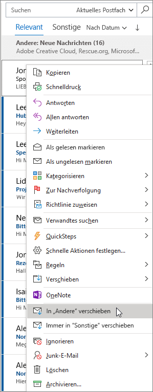 Posteingang mit Relevanz in Outlook