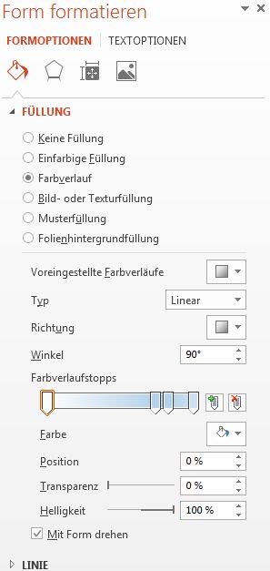 Dialogfeld 'Form formatieren' mit aktivierter Option 'Farbverlauf'