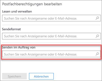 Screenshot: Zulassen, dass ein anderer Benutzer E-Mails im Auftrag dieser Benutzer sendet