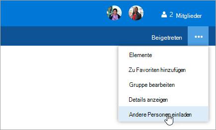 """Screenshot der Schaltfläche """"Andere einladen"""" im Menü """"Gruppeneinstellungen"""""""