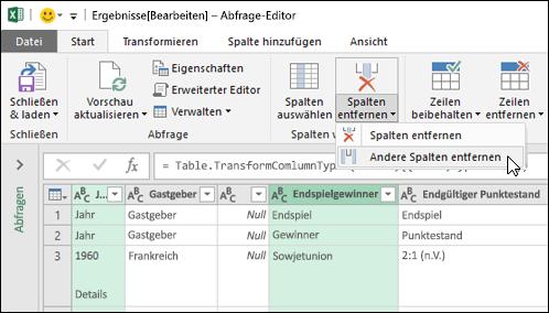 Power Query > Abfrage-Editor > Spalten entfernen