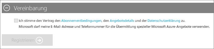"""Screenshot des Abschnitts """"Vertrag"""" der Azure-Abonnementregistrierung, mit Links zum Abonnementvertrag, Angebotsdetails und Datenschutzbestimmungen. Nachdem Sie das Kontrollkästchen für die Zustimmung aktiviert haben, wird die Schaltfläche """"Registrieren"""" angezeigt."""
