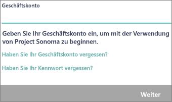"""Bildschirm """"Geben Sie Ihr Geschäftskonto ein"""" in der mobilen Microsoft StaffHub-App"""