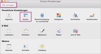 """Feld """"Outlook-Einstellungen"""""""