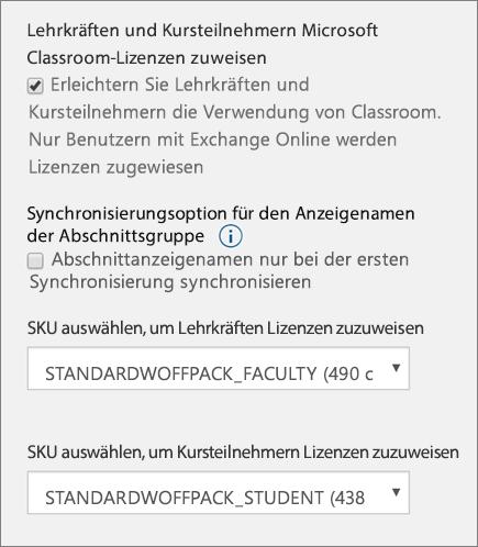 Screenshot der SKU- und Lizenzauswahl für neue Benutzer in School Data Sync