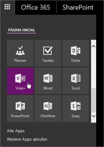 "Screenshot des App-Bereichs mit aktiver Kachel ""Video"""