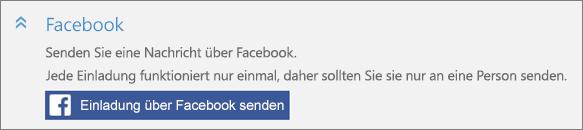 """Eine Nahaufnahme des Abschnitts """"Facebook"""" im Dialogfeld """"Person hinzufügen"""" mit der Schaltfläche """"Einladung über Facebook senden""""."""