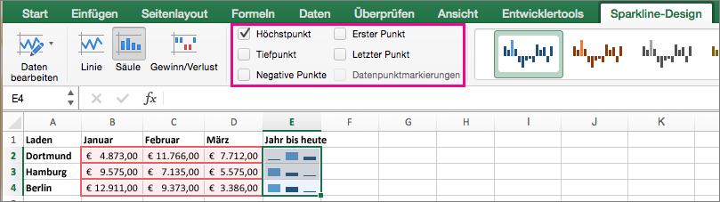 """Auf der Registerkarte """"Sparkline-Design"""" Markierungen auswählen"""
