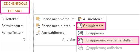 Schaltfläche 'Gruppierung wiederherstellen' auf der Registerkarte 'Zeichentools - Format'