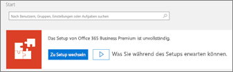 Screenshot des Setup-Assistenten auf der Office 365 Admin-Startseite