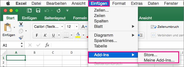 """Zeigt den Ablauf für """"Einfügen"""" > """"Add-Ins"""" in Office2016 für Mac."""