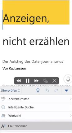 """Zeigt """"Laut vorlesen"""" in der Word-App an"""