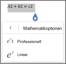 Anzeigen von mathematischen Formel Formaten