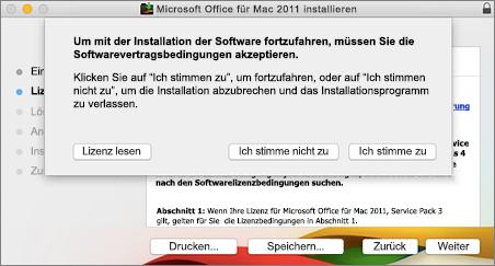 Screenshot des Fensters zum Akzeptieren des Software-Lizenzvertrags