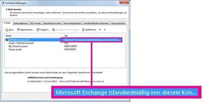 Microsoft Exchange-Konto, wie es im Dialogfeld 'Kontoeinstellungen' angezeigt wird