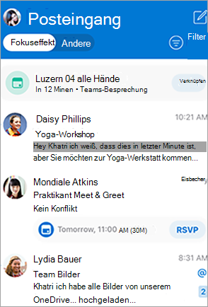 Zeigt den Posteingang in Outlook an