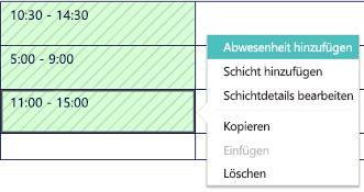 """Option """"Urlaub hinzufügen"""" auf der Microsoft StaffHub-Terminplanungsseite"""